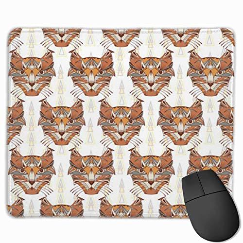 Yuanmeiju Nettes Gaming-Mauspad, Schreibtisch-Mauspad, kleine Mauspads für Laptop-Computer, Mausmatte Brown Caracal Lynx Wildkatzenköpfe Ethnisches Tier Tribal Gemustert