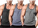 JINIDU Camiseta de tirantes para hombre, sin mangas, para entrenamiento, gimnasio, culturismo, musculación, sin mangas negro/azul/gris. L