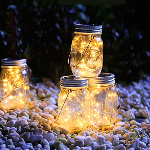 LiyuanQ Hanging Solar Mason Jar Lid Lights, 6 Pack LED String Fairy Lights Solar Lanterns Table Lights, 6 Hangers and Jars Included, Great Outdoor Décor for Lawn Patio Garden Yard (Warm White)