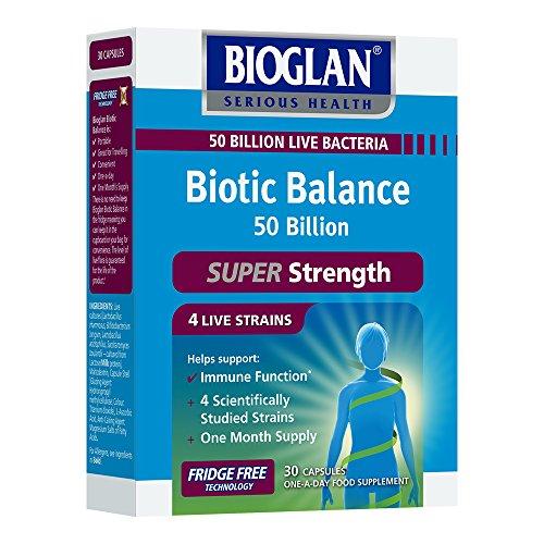 Bioglan Biotic Balance 50 Billion CFU, with Vitamin C for Digestive Health and Immune Support, Super Strength, 4 live strains, fridge free, one month supply - 30 capsules
