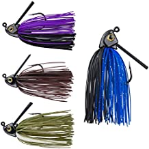 RUNCL Anchor Box - Swim Jigs, Bass Fishing Jigs 1/2oz - Silicone Skirts, Spike Trailer Keeper, Fish-Shaped Streamlined Head, Weedguard System, Proven Colors - Fishing Lures (Pack of 4)