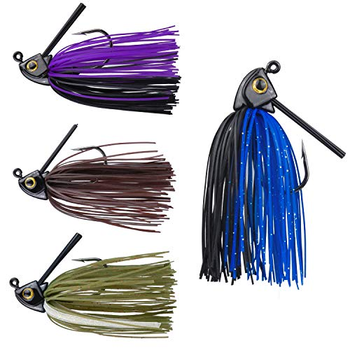 RUNCL Anchor Box - Swim Jigs, Bass Fishing Jigs 3/8oz - Silicone Skirts, Spike Trailer Keeper, Fish-Shaped Streamlined Head, Weedguard System, Proven Colors - Fishing Lures (Pack of 4)