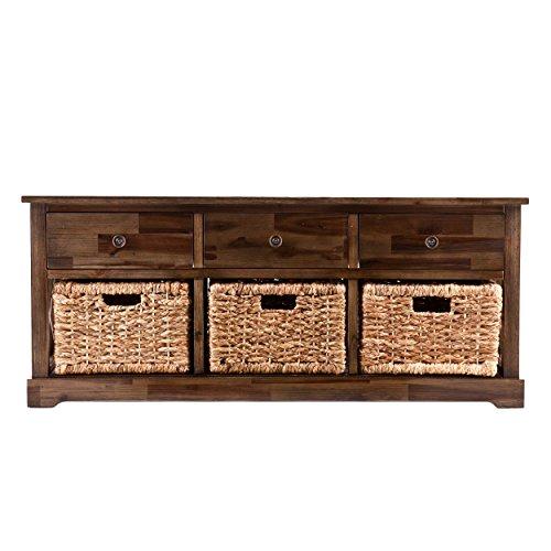 Southern Enterprises Jayton Natural Water Hyacinth Storage Bench 3 Woven Baskets w/Antique Brown Finish, Coastal Style