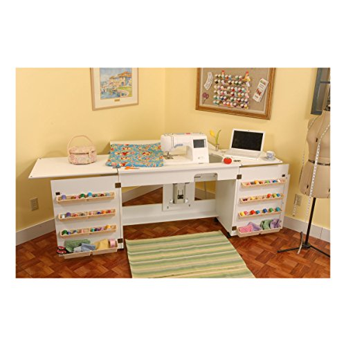 Arrow 701 Bertha Sewing Cabinet for Sewing, Cutting, Quilting, Crafting, Portable with Wheels, Includes Airlift and Storage, White Finish