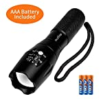 outlite A100 Portable 2000 Lumens Handheld LED Flashlight with Adjustable Focus and 5 Light Modes, Outdoor Water… 10 Ultra Bright LED Lamp & Super Long Endurance - Powerful LED generates a brilliant large area floodlight or a perfectly focused spotlight, the led flashlight can easily light up an entire 100 square meters room or focus in on objects up to 1000 feet away, Last for more than 5 hours with 3 regular AAA batteries or a single rechargeable 18650 battery. (Only AAA battery included) Compact & Ergonomic Design – Water resistant, Skid-Proof and Anti-fall design. Built for rough handling.Outlite flash light can be waterproof from splashing water from any angle. 2 spares O rings for you replace the flashlight to make it waterproof. Made of durable aluminum alloy crust, can survive a 10-foot drop. Head cooling groove design make you hands feel comfortable for long time use. Tail copper battery contact design effectively prevents poor battery contact. Adjustable Focus & Five Modes - Settings with 5 modes: High, Medium, Low, Strobe and SOS emergency modes. Wide-to-narrow beam zoom makes it ideal for use around the house, dog walking, or camping. Best flashlights for running.