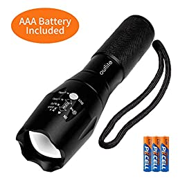 "outlite A100 Portable 2000 Lumens Handheld LED Flashlight with Adjustable Focus and 5 Light Modes, Outdoor Water Resistant Flashlights High Lumens, Tactical Flashlight for Camping Hiking Emergency 6 <p>Ultra Bright LED Lamp & Super Long Endurance - Powerful LED generates a brilliant large area floodlight or a perfectly focused spotlight, the led flashlight can easily light up an entire 100 square meters room or focus in on objects up to 1000 feet away, Last for more than 5 hours with 3 regular AAA batteries or a single rechargeable 18650 battery. (Only AAA battery included) Compact & Ergonomic Design – Water resistant, Skid-Proof and Anti-fall design. Built for rough handling.Outlite flash light can be waterproof from splashing water from any angle. 2 spares O rings for you replace the flashlight to make it waterproof. Made of durable aluminum alloy crust, can survive a 10-foot drop. Head cooling groove design make you hands feel comfortable for long time use. Tail copper battery contact design effectively prevents poor battery contact. Adjustable Focus & Five Modes - Settings with 5 modes: High, Medium, Low, Strobe and SOS emergency modes. Wide-to-narrow beam zoom makes it ideal for use around the house, dog walking, or camping. Best flashlights for running. Exceptional Value – Please keep the led flashlight in your room or in your car for daily use, a great gift to a friend or family member. Same ""military"" tactical flashlight AS SEEN ON TV, shopping networks, and commercials. Portable Mini Size - LED flashlight is compact. Length:5.35"", Diameter: 1.33"", Weight 179g, fits very well in your hand, pocket, backpack and purse allowing for easy storage and quick access.</p>"