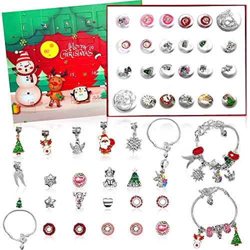 Calendario adviento,joyas Navidad cuenta regresiva,Calendario Adviento Navidad ,Collares Pulseras Pendientes Colgantes para Mujeres,Calendario Navideño Regalo Navidad para Niños Niñas (Rojo verde)