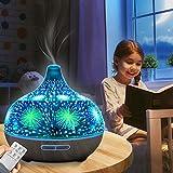 GJCrafts Diffusore di oli essenziali, telecomando umidificatore per nebbia Umidificatore ad ultrasuoni in vetro 3D con 7 led che cambiano colore, spegnimento automatico senza acqua, per ufficio