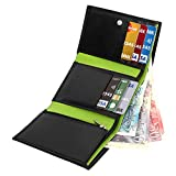 STARHIDE RFID Blocking Tall Genuine Goat Leather Trifold Zip Wallet Gift Boxed 615 (Black/Green)