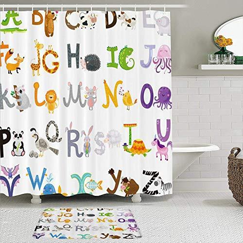 Mozenou Stoff Duschvorhang & Matten Set,Alphabet ABC Lernen Cartoon Buchstaben & Tiermuster für Kinder Lernwerkzeug A bis Z Lustige Lehrwörter,Badvorhänge mit 12 Haken,rutschfeste Teppiche
