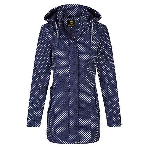 Michael Heinen - Impermeabile da donna con cappuccio, antivento, impermeabile Blu navy/bianco a pois XL
