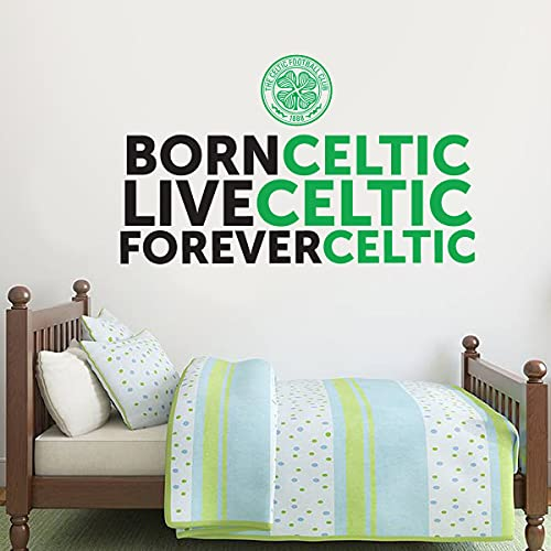 Official Celtic Football Club Born Live Forever Celtic Wall Sticker + Celtic Decal Set Wall Art (60cm Width x 35cm Height)