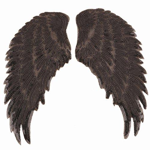 1 par de alas de ángel con lentejuelas para planchar o bordar, para chaquetas, ropa, decoración del día de San Valentín negro