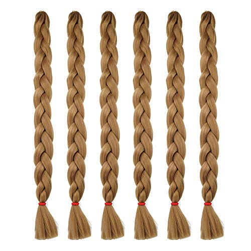SESI PLUS 6PCS Light Brown Braiding Hair Extensions Kanekalon Jumbo Braids Synthetic Hair (41Inches, 27# Light Brown)