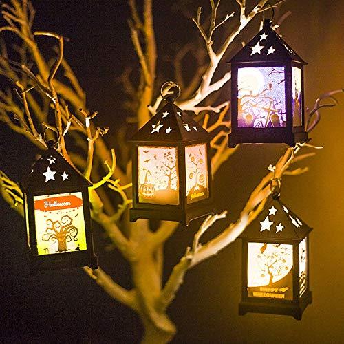 HOBBMS Neue Halloween Beleuchtung Retro Farbe LED Nachtlicht Bar Atmosphäre Layout Requisiten Hohl Licht Ornamente, Bar Home Haunted House Dekoration Lampe, Nette Ornamente