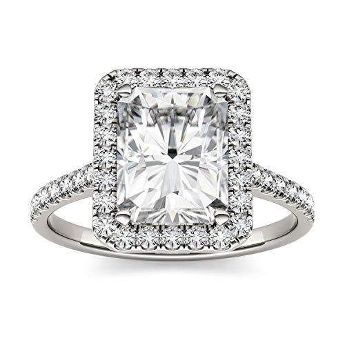Charles & Colvard Forever One anillo de compromiso - Oro blanco 14K - Moissanita de 9.0 mm de talla Radiant, 3.1 ct. DEW, talla 9,5