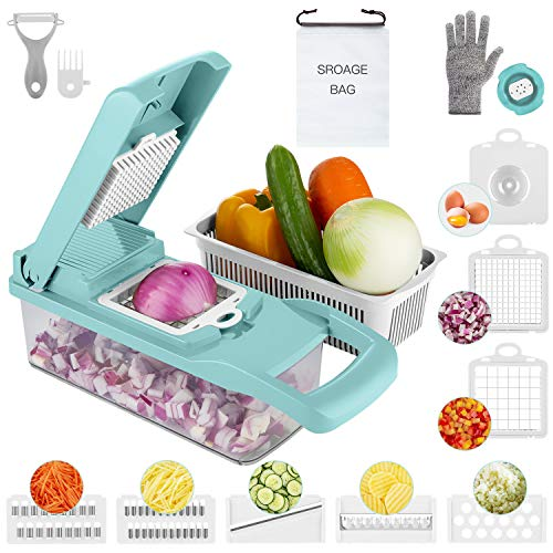 Multiple Vegetable Chopper, Onion Chopper with Large Container,15 in 1 Hand Held Food and Fruit Chopper,Adjustable Veggie Mandoline Slicer Dicer, 7 Blades Kitchen Cutter with Organizer Bag (Version 2)