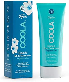 COOLA Organic Sunscreen & Sunblock Body Lotion, Skin Care for Daily Protection, Broad Spectrum SPF 50, Reef Safe, Fragranc...