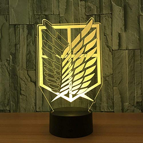3D Illusion Night Light for Kids Attack on Titan Badge Creative 3D LED Night Light Color Changin Visual Novelty Light for Home(with Remote)
