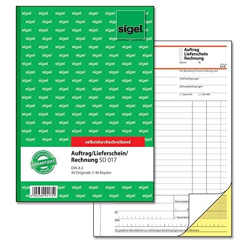 SIGEL SD017 Kombinationsbuch, Auftrag / Lieferschein / Rechnung A5, 2x40 Blatt, selbstdurchschreibend