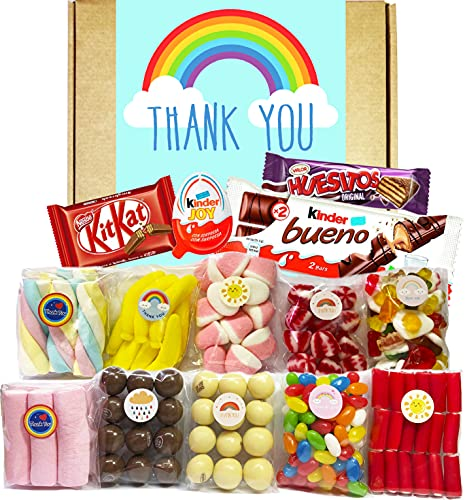 Cesta Thank You, Lote de Dulces, Golosinas y Chocolate. Caja con Nubes de Colores, Ositos Haribo, Jelly Beans, Kinder Joy, Huesitos, Conguitos, Kinder Bueno, Kit Kat. Regalo Cumpleaños o Aniversario.