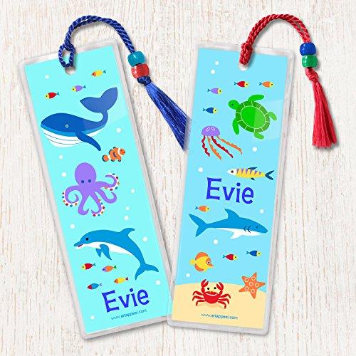 Kid's Personalized Ocean Animals Bookmarks, Children's Laminated Bookmark Set of 2
