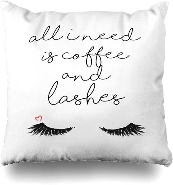 ONELZ Woman Slogan Cute Cartoon Black Eyelashes Wall Square Decorative Throw Pillowcase Two Sides Printed Fashion Style Zippered Cushion Pillow Cover 18 X 18 Inch