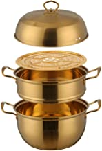 SHYPT 1 Pcs Steamer Pot Stainless Steel Three layer Thick Gold Steamer Pot Soup Steam Pot Cooking Pots Cooker Gas Stove (C...