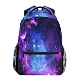 Purple and Blue Galaxy Laptop Backpack, Nebula Star Water Resistant College Students Bookbags Elementary...