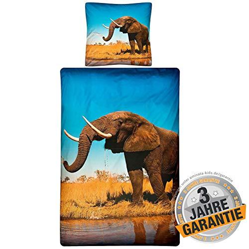Aminata Kids schöne Bettwäsche Elefant 135 x 200 cm + 80 x 80 cm aus Baumwolle mit Reißverschluss, Männer, Frauen & Jugendliche mit Elefanten-Motiv ist weich und kuschelig, bunt, Glück, Afrika, Asien