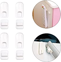 Remote Control Holder Hook,4 Set Wall Mount Storage Sticky White Plastic Hook with Strong Self Adhesive and Hanging Buckle, TV Air Conditioner Remote Control Keys Organizer Hanger