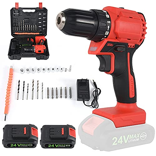 Cordless brushless Percussion Drill 2 Electric 24V Cordless Drill with 1 Charge, Household Percussion Drill Set, with stepless Speed Change
