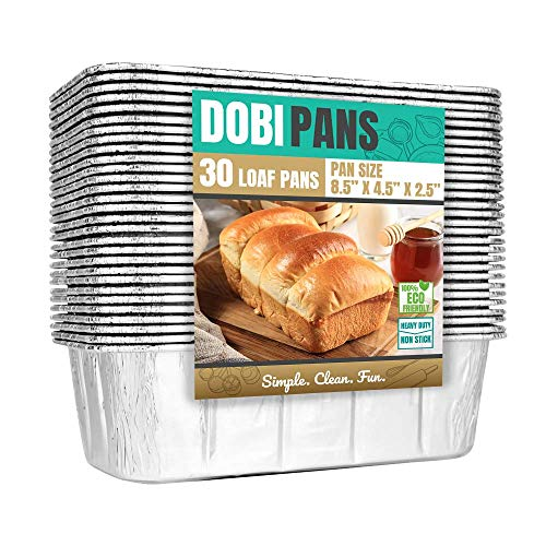DOBI Loaf Pans (30 Pack), 2lb Disposable Aluminum Foil Bread Pans, Standard Size - 8.5' X 4.5' X 2.5'. Favorite Bread Tin Size for Homemade Breads & Cakes. Compatible w/ Roadpro Portable Stove