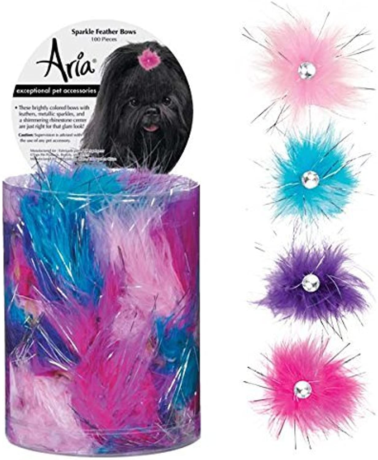 Aria Sparkle Feather 100 Piece Bows for Dogs by Aria
