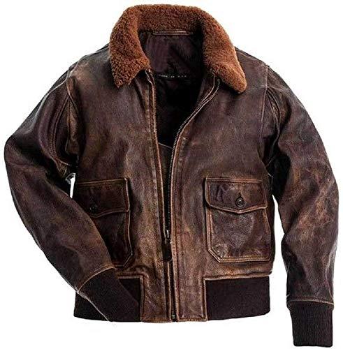 Mens Aviator G-1 Flight Jacket Distressed Brown Leather Jacket | Genuine Cowhide Leather Bomber Jacket (2XL)