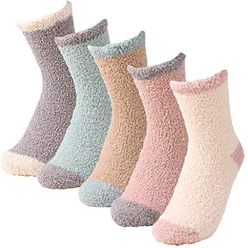Zeraty Fuzzy Socke für Frauen Startseite Slipper Socken Mikrofaser-Crew-Socken Home Sleeping Fuzzy Gemütliche Socke, 5 Paare