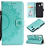 CoverKingz Handyhülle für Huawei Y6p - Handytasche mit Kartenfach Y6p Cover - Handy Hülle klappbar Motiv Mandala Grün