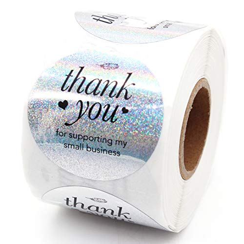 Muminglong Thank You for Supporting My Small Business Round Stickers, Thank You Sticker, Small Shop Sticker, Small Business, Packaging Sticker, Real Gold 500PCS, 1.5 inch, (White)
