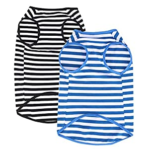 WEONE Dog Summer Shirt Striped Cotton Vest,Pet Breathable Soft Basic Clothes for Small Medium Larg Boy Girl Dogs