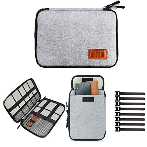 Travel Cable Organizer Bag, Electronics Accessories Carry Cases Portable Cord Organizer Bag Case for USB Cable Cord Pen Hard Cables Earphone Ipad iPhone with 8 Cable Ties (Up to 7.9)
