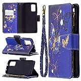 Case Cover, Adatto per Xiaomi Poco M3 verniciato con cerniera con cerniera custodia protettiva custodia magnetica 9 carte slot fritte da tasca monetaria [borsa con cerniera] [fibbia magnetica] [cintur