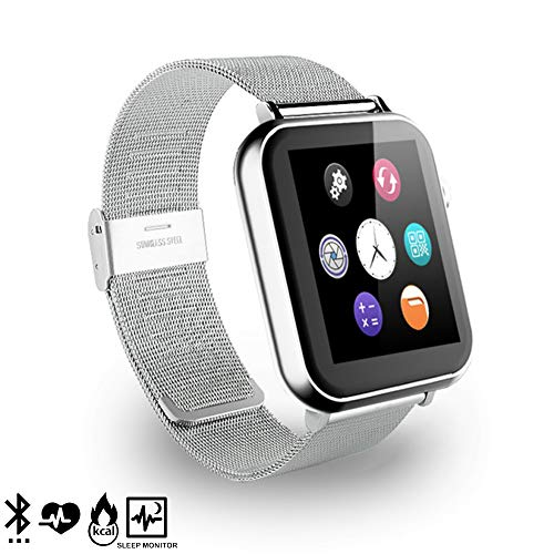 DAM A9 - Smartwatch de 1.54  compatible con iOS Android, Plata