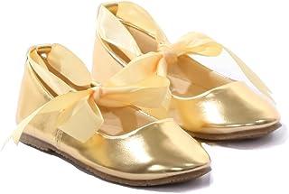 ca58b5c78 Ballerina Ribbon Tie Rubber Shoes Cinderella Flats Toddler Party