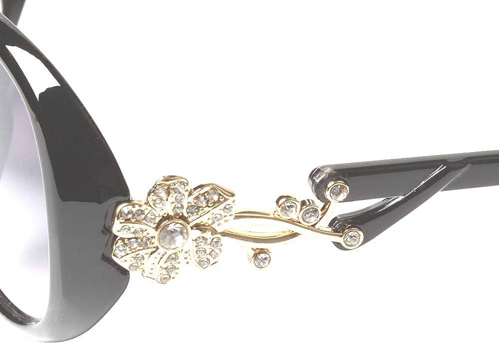 orn/é de fleurs dor/ées allure mode LianSan GD103 Lunettes de soleil ovales en Polaro/ïd /® pour femme