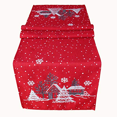 Raebel OHG Camino de mesa bordado pueblo de invierno abeto Navidad blanco decoración de Navidad mantel,...