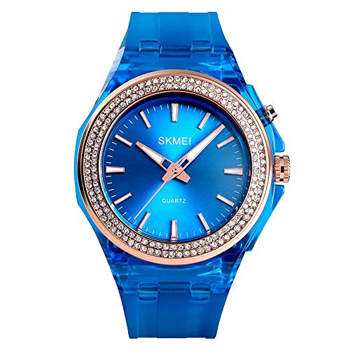 Diommest Women's Diamond LED-achtergrondverlichting Watch, Quartz Resin en Siliconen Watch, Student Fashion Trend waterdicht Elektronische Watch, dameshorloge Fashion Horloges voor mannen