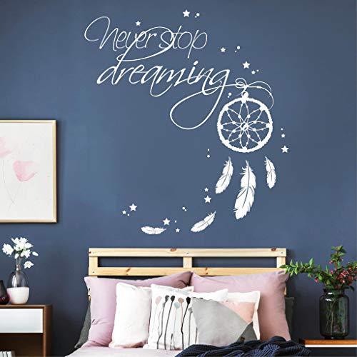 Wandtattoo Schriftzug Never Stop Dreaming mit Traumfänger/weiß / 35 x 38 cm