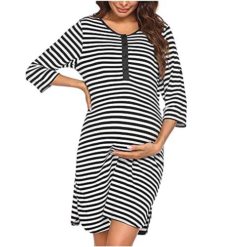 AMhomely Vestidos de maternidad para mujer, vestido de maternidad para mujer, con rayas, manga corta, lactancia, embarazada, maternidad, vestido de verano de talla grande, vestido de fiesta bodycon