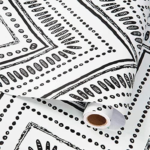 MENGGOO Papel Pintado Negro Blanco Moderno Autoadhesivo Película De Vinilo Patrón Geométrico Pegatina De Pared Extraíble Decorativa (Color : C, Dimensions : 45x300cm)