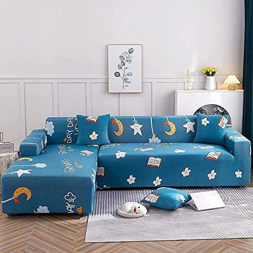 Sofabezug elástico Sofaugenzen en forma de L Sofabezug hecho de mar hielo adecuado para 1/2/3/4 asiento y sofá de esquina en forma de L (sofá de esquina en forma de L debe comprar dos piezas)